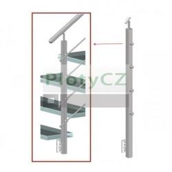 Sloupek k zábradlí, AISI304,40x40x2/4xD12, AJP-BS90-4D12