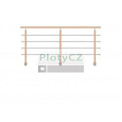 Zábradlí nerez. dřevo BUK, boční kotvení rovné, WB/ZBR90-3000