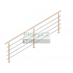 Zábradlí dřevěné DUB sada, L3000mm, VK-schodiště