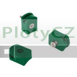 Příchytka napínacího drátu se šroubem, zelená