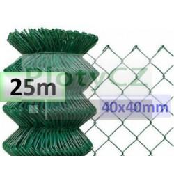 Poplastované pletivo oko 40x40mm, zelené 25m, bez zapleteného napínacího drátu