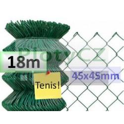 Poplastované pletivo oko 45x45mm - tenis, zelené 18m, bez zapleteného napínacího drátu