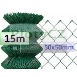 Poplastované pletivo oko 50x50mm, zelené 15m, bez zapleteného napínacího drátu