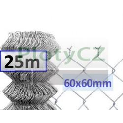 Pozinkované (Zn) pletivo oko 60x60mm, pozink. 25m, bez zapleteného napínacího drátu