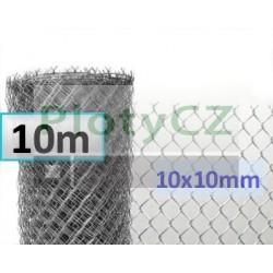 Pozinkované (Zn) pletivo malá oka 10x10mm, pozink. 10m, výška 100cm, bez zapleteného napínacího drátu