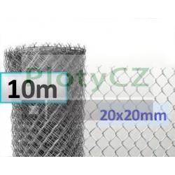 Pozinkované (Zn) pletivo malá oka 20x20mm, pozink. 10m, výška 100cm, bez zapleteného napínacího drátu
