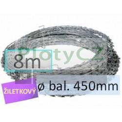 Žiletkový ostnatý drát CONCERTINA ø 450mm, 8m pozinkovaný Zn