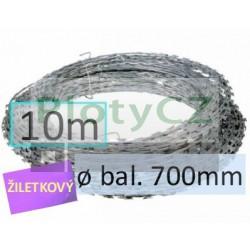 Žiletkový ostnatý drát CONCERTINA ø 700mm, 10m pozinkovaný Zn