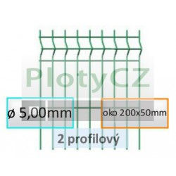Plotový díl GALAXIA PVC 2-profilový, oko 200x50mm, ø 5,00mm