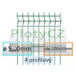 Plotový díl GALAXIA PVC 4-profilový, oko 200x50mm, ø 5,00mm