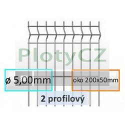 Plotový díl GALAXIA Zn 2-profilový, oko 200x50mm, ø 5,00mm