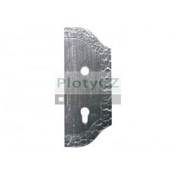 Štítek bránový zdobený, pravý  265x105, t3, a90, d18,5mm
