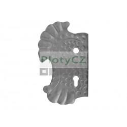 Štítek bránový levý, 270x160, t3, a90, d18,5mm, zdobený