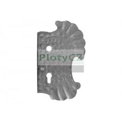 Štítek bránový pravý, 270x160, t3, a90, d18,5mm, zdobený