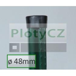 Plotový sloupek s prolisem AQUIGRAF poplastovaný ø 48mm, zelený
