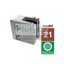 Držák skla hranatý, AISI304, D42,4/45x45mm