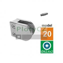 Držák skla AISI304, D42,4/50x40mm, oblý