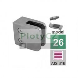 Úchyt skla na zábradlí, model 26, AISI316, 40x40x2