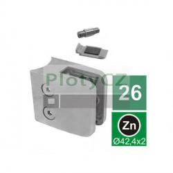 Úchyt skla model 26 D42,4mm, ZAMAK slitina, Sloupek D42,4x2