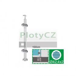 Sloupek k zábradlí - sklo, VK AISI304, D42,4/4xmodel22/H1000mm