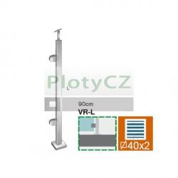 Sloupek k zábradlí - sklo, VK-rovné AISI304, 40x40/2xmodel22/H
