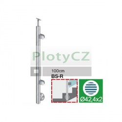 Sloupky k zábradlí - sklo, BK-schod AISI304, D42,4/2xmodel22