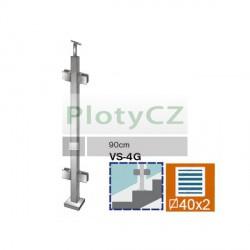 Sloupek k zábradlí -sklo, VK-schod AISI304, 40x40/4xmodel