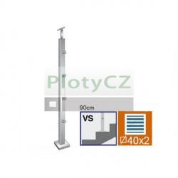 Sloupek nerezový k zábradlí, VK-schodiště AISI304, JP40x40/4, AJP-VS90-4D12