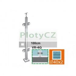 Sloupek k zábradlí - sklo, 40x40x2/4xmodel22/H, VK AISI304
