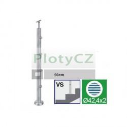 Sloupek nerezový k zábradlí D42,4/4xd12/H900mm, AISI304, A-VS90-4D12