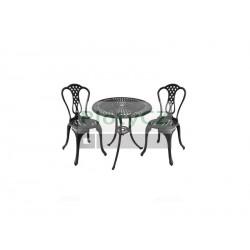 Zahradní set - stůl + 2 židle, materiál hliník , barva černá