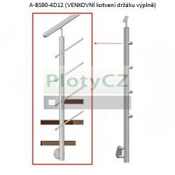 Sloupek nerezový k zábradlí D42,4/4xd12/H900mm, AISI304, A-BS90-4D12