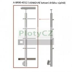 Sloupek nerezový k zábradlí D42,4/4xd12/H90, AISI304, A-BR90-4D12