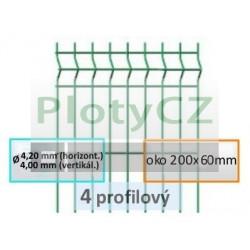 Plotový díl MERKUR PVC 4-profilový, oko 200x60mm, ø 4,40mm