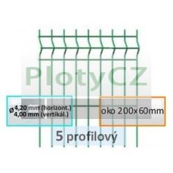 Plotový díl MERKUR PVC 5-profilový, oko 200x60mm, ø 4,40mm