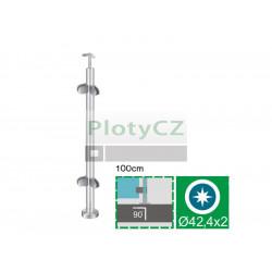 Sloupek k zábradlí - sklo, AISI304, D42,4/4xmodel22/H10