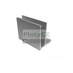 """Kotvící hliníkový profil ,,vrchní"""" AL/ELOX/Satin pro sklo, 121x45x5000, 1,7kN"""