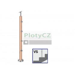Sloupek dřevěný BUK k zábradlí D50mm, 4xd12mm, v90cm, VK-Sch