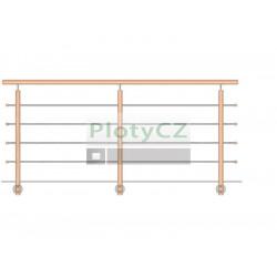 Zábradlí BUK, boční kotvení rovné DUB, WD/ZBR90-3000